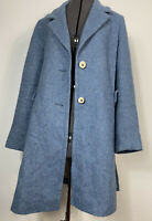 Maison Lener Sky Blue Wool Alpaca Blend Long Coat EU 40 UK 12 Retro 70s Look