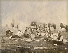 "1905 Photograph, Cowboys resting, Wagon, antique western life, horses, 14""x11"""