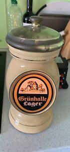 grunhalle Lager  ceramic bar font - Breweriana Man Cave Pub Bar