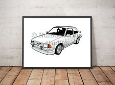 Ford Escort RS mk3 in white Artwork Print A1 signed, limited to 500 prints