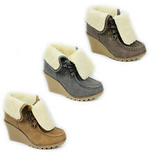WOMENS WEDGE HEEL LACE UP FOLD OVER FUR CUFF ANKLE BOOTS LADIES SHOES SIZE 3-8