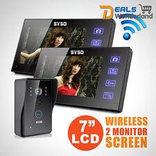 """7"""" Wireless 2  Monitors Video Doorbell Security Intercom 6 IR Door Phone Camera"""
