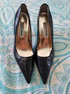 STEVE MADDEN Black Patent Leather Pointy Toe High Heels Stilettos Size 35 C35