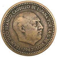 1947 (52)  Spain Francisco Franco 1 Peseta  Aluminium-Bronze  KM # 775