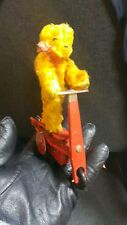 VINTAGE TIN TOY SCOOTER BEAR 1950'S TEDDY WIND UP MODEL GERMANY DDR GDR