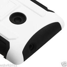 NOKIA LUMIA 520 HYBRID C ARMOR CASE SKIN COVER W/STAND WHITE BLACK