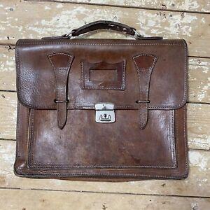 Vintage Leather Briefcase Document Holder Bag