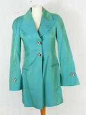 Karen Millen Turquoise Blue Metallic Shimmer 3/4 Length Occasion Jacket - UK 8