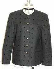 SALZBURGER / BLACK ~ WOOL & VELVET Women AUSTRIA Dress Suit Skirt JACKET / 8 S