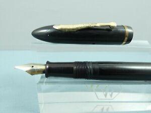 Vintage Sheaffer Balance Jr Black Vacuum Fill Fountain Pen, GT, c1940 *REPAIR*