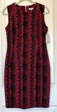 NWT Calvin Klein Velvet Snake Print Size 10 Fuchsia Red Career Party Dress