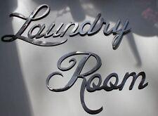 Metal Wall Art Decor LAUNDRY ROOM Shiny Silver