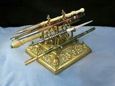 More details for gothic arts & crafts antique brass fountain dip pen rest desk stand holder rack