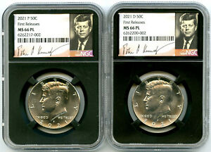 2021 P & D KENNEDY NGC MS66 PL HALF DOLLAR MATCHING 2 COIN SET FIRST RELEASES