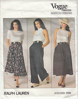 Vogue Skirt 2 Lengths Pants Flared Pockets Pleats Sewing Pattern Size 12 Uncut