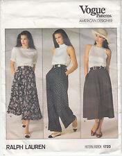 Vogue Skirt 2 Lengths Pants Flared Pockets Pleats Sewing Pattern Size 12 Uncut