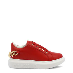 NEW $280 Love Moschino Sneakers Shoes Red Leather Gold Hearts Chain EU35/US5