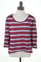 HOLLISTER Womens Top 3/4 Sleeve Size 12 Medium Burgundy Stripes Cotton  K003
