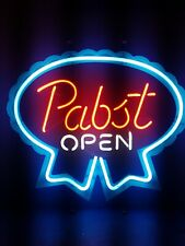 (Vtg) 1980s Pabst beer open neon light up bar sign game room man cave Pbr