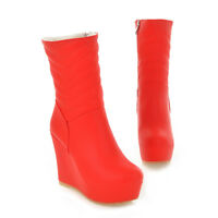 Ladies Hot Sexy High Wedge Heel Ankle Chelsea Boots Pull On Casual Party Shoes