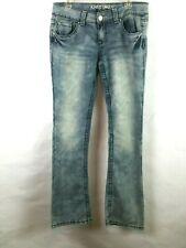 Almost Famous Women's Bootie Jeans Juniors Sz 11 Flap Pocket Light Wash Stretch