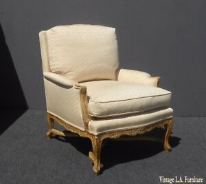 Designer French Country White Accent Chair Crackle Finish& Down Feather Cushions