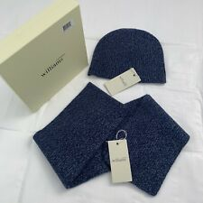 Luxury Cashmere Williams Scarf & Hat Navy Blue Unisex One size fits all (A1)