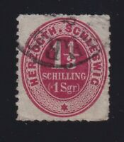 Germany Schleswig-Holstein Sc #12 (1865) 1&1/3s rose Numeral Used