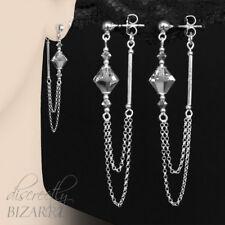 Long 925 Sterling Swarovski Silver Crystal Double Front Back Chain Drop Earrings