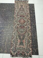 """Antique French Paisley Kashmir Rectangle piano Shawl Wool size 55""""x15""""reversible"""
