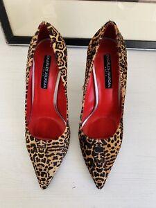 DESIGNER CHARLES JOURDAN Women High Heels Size 6.5 M Leopard Print Calf Hair