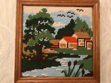 Embroidered Yarn Picture Painting Farm  - Oak Frame -  Ready to hang