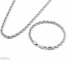 "Men's Silver Chrome Plated 20"" Inch 5mm Hip-Hop Dookie Rope Chain & Bracelet Set"