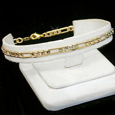 """9"""" Ladies 4mm FIGARO Link 14k Gold GL FOOT CHAIN Anklet  LIFETIME GUARANTEE"""