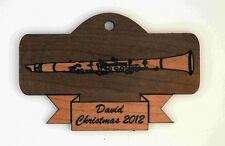 Personalized Clarinet Wooden Christmas Ornament (FREE SHIPPING)