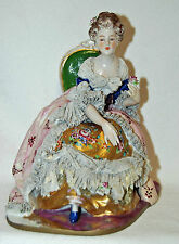 Antique Porcelain Lady Woman Queen Figural Figurine Germany Dresden Lace German