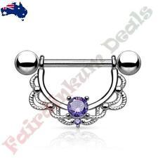 316L Surgical Steel Silver Nipple Ring Shield with Tanzanite CZ Filigree Drop