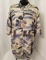 Pierre Cardin Mens Multi Color Hawaiian Design Button Down Shirt Size XL