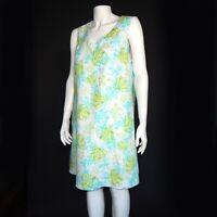 J. JILL LINEN Beautiful Blue Green Turtle Reed Watercolor Dress size Medium 882