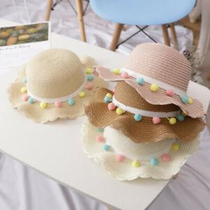 Toddler Baby Kid Girls Breathable Sun Cap Tassel Balls Straw Hat Beach Hat 2-10Y