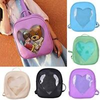 Style Women Girls Transparent Heart Shaped Backpack Schoolbag Travel Hiking Bags