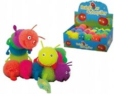 Rainbow Coloured Stripey Caterpillar Toy - Squidgy Stretchy Bendy Stress Ball
