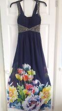 Ladies Large Flower Hem Print Embellished Adjustable Back Maxi Dress-8