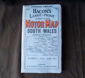 E95 ~ antique BACON'S Large Print MOTOR MAP - South Wales - on cloth