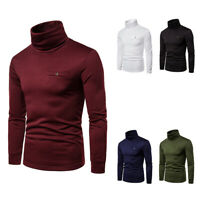 Mens Winte Warm Roll Turtle Neck Pullover Knitted Jumper Tops Sweater Shirt  yi