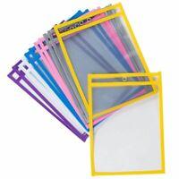 Juvale 12-Pack Reusable Plastic Dry Erase Pockets for Kids, Teachers, School