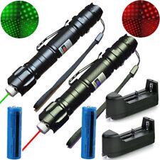 2Pc 900Miles Green Red Laser Pointer Pen Star Beam Rechargeable Lazer+Batt+Char