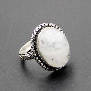 925 Silver Plated Rainbow Moonstone Handmade Ring Size 8 US Jewelry RJ176-64