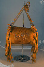 Borsa vera pelle frange donna Bag leather camel stampa coccodrillo made italia