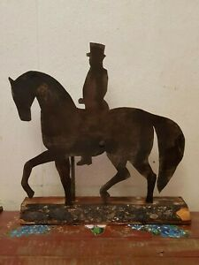ANTIQUE FOLK ART HORSE AND RIDER WEATHER VANE